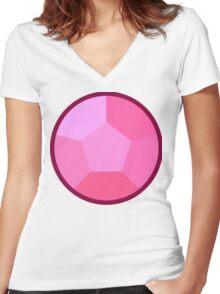 Rose Quartz gem Women's Fitted V-Neck T-Shirt