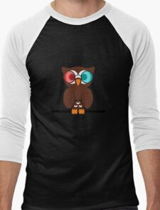 Owl 3D Glasses Men's Baseball ¾ T-Shirt