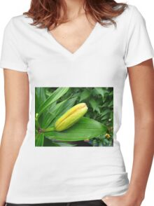 Jealousy - Lily Bud Macro Women's Fitted V-Neck T-Shirt