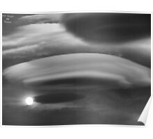 Monochrome Lenticular Clouds and Moon Poster