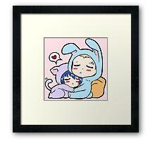 Kannao - Bunny and Cat Framed Print