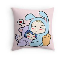 Kannao - Bunny and Cat Throw Pillow