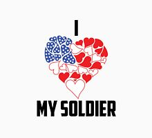 I Love My Soldier - Flag Heart Womens Fitted T-Shirt