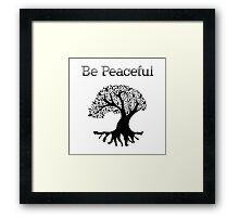 Be Peaceful Tree - Black Framed Print