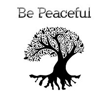 Be Peaceful Tree - Black Photographic Print