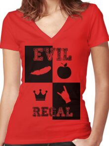 Evil Regal - Feather/Apple/Crown/Hand Women's Fitted V-Neck T-Shirt