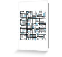 Map Lines Sky Blue Greeting Card