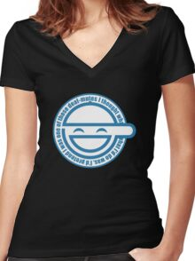 laugh man Women's Fitted V-Neck T-Shirt