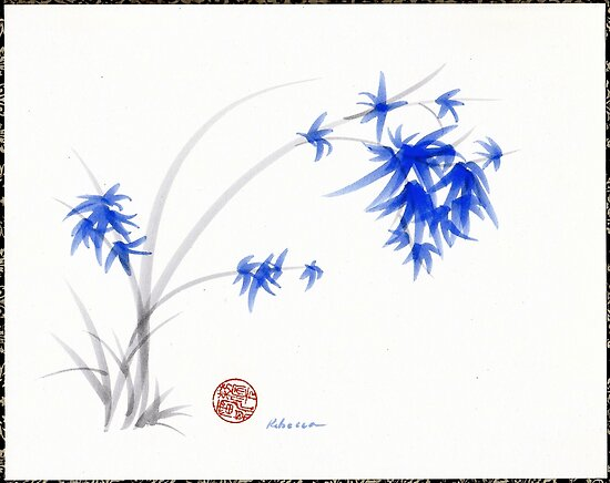 """""""Soft Blue Flowers"""" Chinese Painting by Rebecca Rees by Rebecca Rees"""