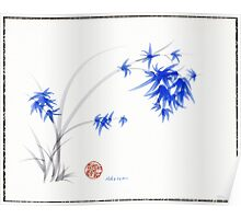 """Soft Blue Flowers"" Chinese Painting by Rebecca Rees Poster"