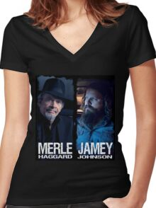MERLE HAGGARD JAMEY JOHNSON Women's Fitted V-Neck T-Shirt