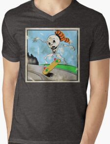 Retro Skeleton Kickflip! Mens V-Neck T-Shirt