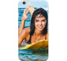 Beautiful Young Woman Paddling on Surfboard iPhone Case/Skin