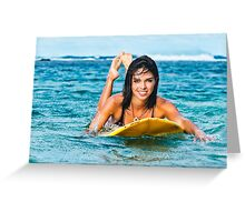Beautiful Young Woman Paddling on Surfboard Greeting Card