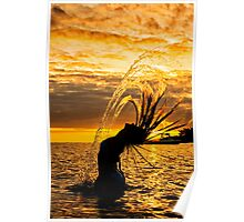Sunset Surfer Hair Flip Poster