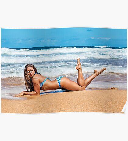 Sexy Young Bikini Model Posing on a Hawaiian Beach Poster