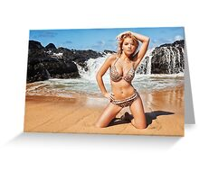 Sexy Blonde Bikini Model Posing on Hawaiian Beach Greeting Card