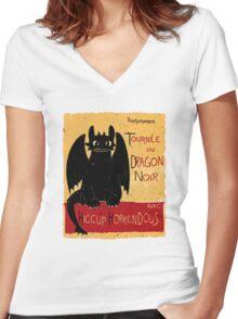 Dragon Noir Women's Fitted V-Neck T-Shirt