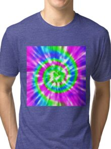 Tie Dye - Purple, Lime Green, Aqua Tri-blend T-Shirt