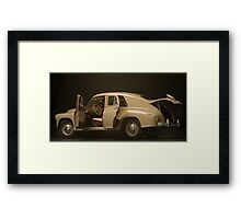 retro car  interior on a black background Framed Print