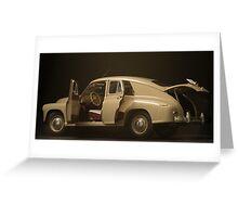 retro car  interior on a black background Greeting Card