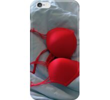 Red bra on white sheets in bed. iPhone Case/Skin