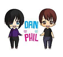 Dan and Phil  cute chibi style <3 Photographic Print