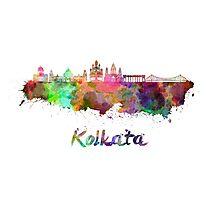 Kolkata skyline in watercolor Photographic Print