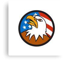 American Bald Eagle Head Looking Up Flag Circle Cartoon Canvas Print