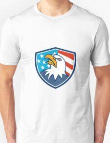 American Bald Eagle Head Looking Up Flag Crest Cartoon Unisex T-Shirt
