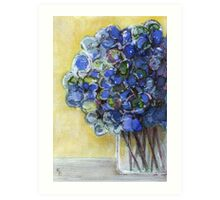 Hydrangeas on Yellow Art Print
