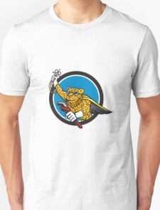 Refrigeration Mechanic Leopard Superhero Circle Cartoon T-Shirt