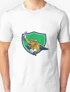 Refrigeration Mechanic Leopard Superhero Crest Cartoon T-Shirt