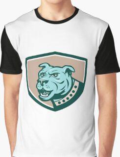Mastiff Dog Mongrel Head Side Crest Cartoon Graphic T-Shirt