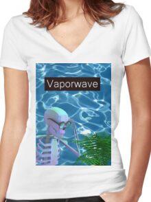 Vaporwave Skeleton - Trippy Plant Women's Fitted V-Neck T-Shirt