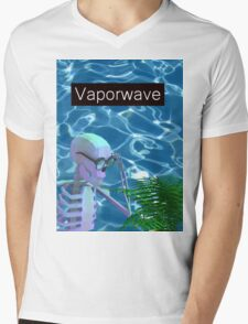 Vaporwave Skeleton - Trippy Plant Mens V-Neck T-Shirt