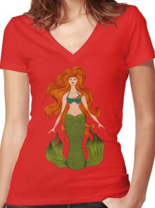 Mermaid with beautiful red hair.  Women's Fitted V-Neck T-Shirt