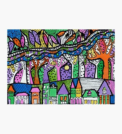 Leaf River Tree Town - Kerry Beazley Photographic Print