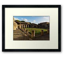 Herculaneum Ruins - Quiet Long Shadows Courtyard Framed Print