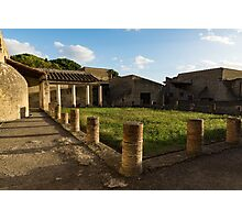Herculaneum Ruins - Quiet Long Shadows Courtyard Photographic Print