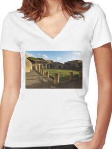 Herculaneum Ruins - Quiet Long Shadows Courtyard Women's Fitted V-Neck T-Shirt
