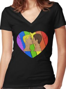 Love & Pride Gay Kiss...FABULOUS! Women's Fitted V-Neck T-Shirt