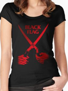 Retro Punk Restyling   - Black Flag red scissors Women's Fitted Scoop T-Shirt
