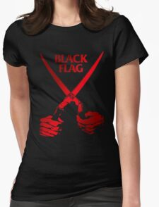 Retro Punk Restyling   - Black Flag red scissors Womens Fitted T-Shirt