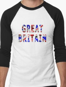 Great Britain Word With Flag Texture Men's Baseball ¾ T-Shirt