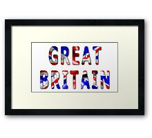 Great Britain Word With Flag Texture Framed Print