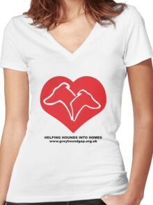 Hounds on Heart Women's Fitted V-Neck T-Shirt
