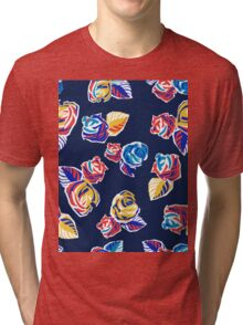 Bright Flowers Pattern Tri-blend T-Shirt