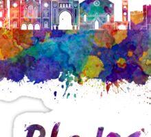 Rhodes skyline in watercolor Sticker