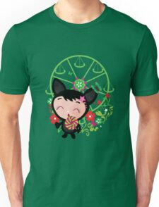 Cute funny cat with candy illustration. Unisex T-Shirt